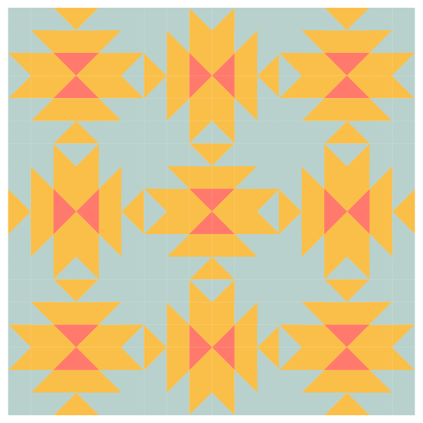 Grouping example of Squash Blossom Quilt Blocks with alternating blocks