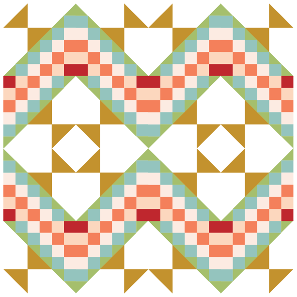 Grouping example of Steps to the altar quilt block with alternating blocks