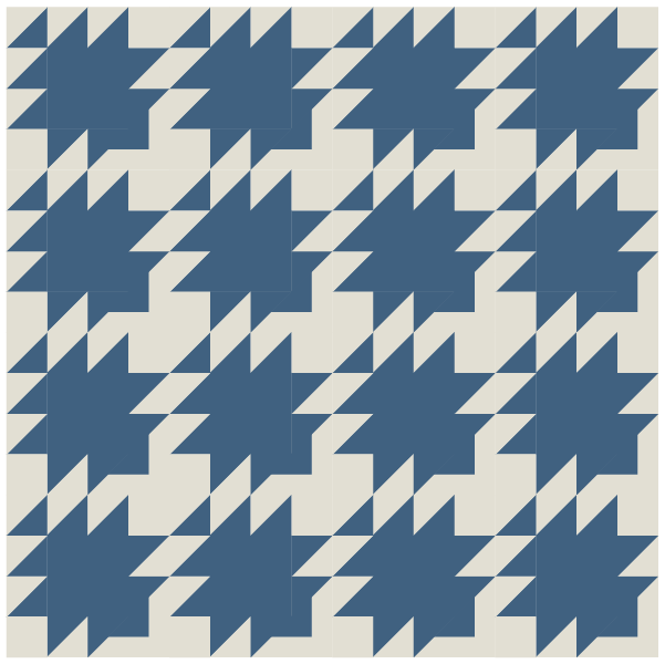 Illustration of straight row layout of Swallow Quilt Block