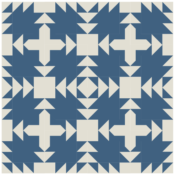 Illustration of alternating block layout of Swallow Quilt Block