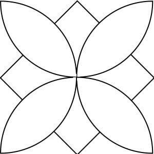 Outlined illustration of tobacco leaf quilt block