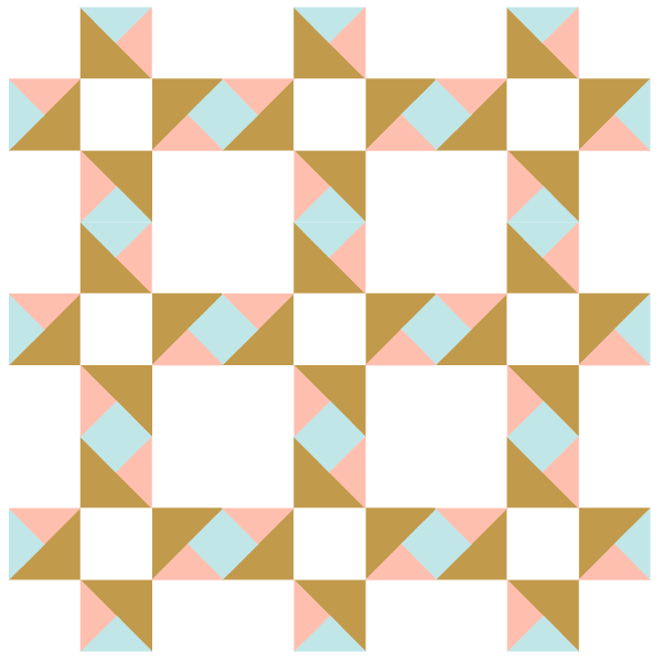 Illustration of group of Twin Star Quilt Blocks