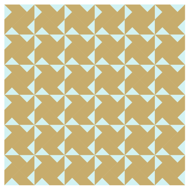 Grouping example of Whirlwind Quilt Blocks in straight rows