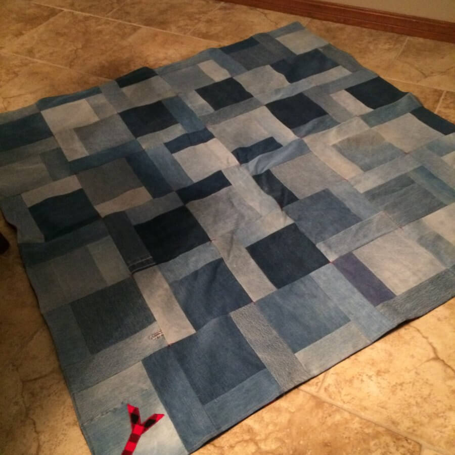 Custom quilt made with old denim