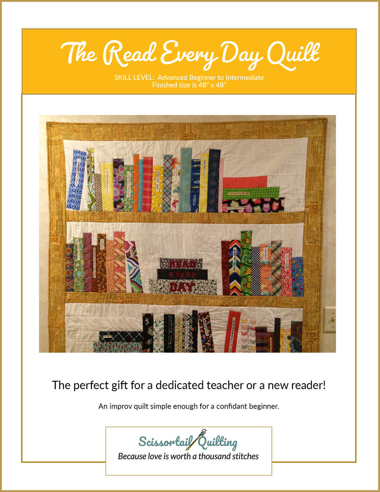 Photo of Cover for The Read Every Day Bookshelf Quilt