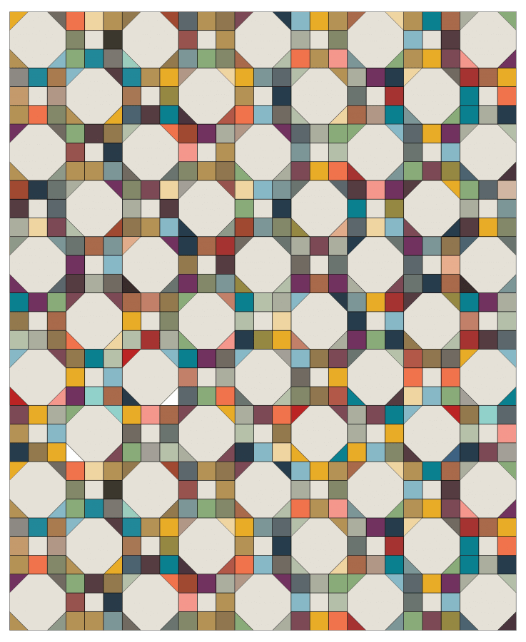Illustration of 9-patch snowball quilt using many colors of fabric
